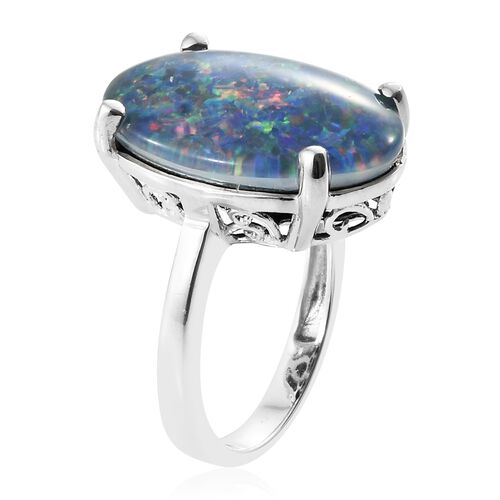 Exclusive Edition- Very Rare  Australian Boulder Opal (Ovl 20X15 mm) Solitaire Ring in Platinum Overlay Sterling Silver 9.000 Ct.