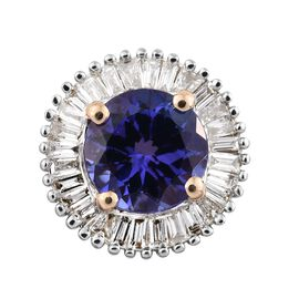 ILIANA 18K Yellow Gold AAA Tanzanite (Rnd), Diamond (SI/G-H) Pendant 1.000 Ct.