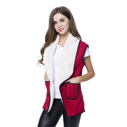 New Season - Dark Red and White Colour Drape Collar Sherpa Gilet (Size 80X50 Cm - Free Size) with Pockets (Size 14X12 Cm)