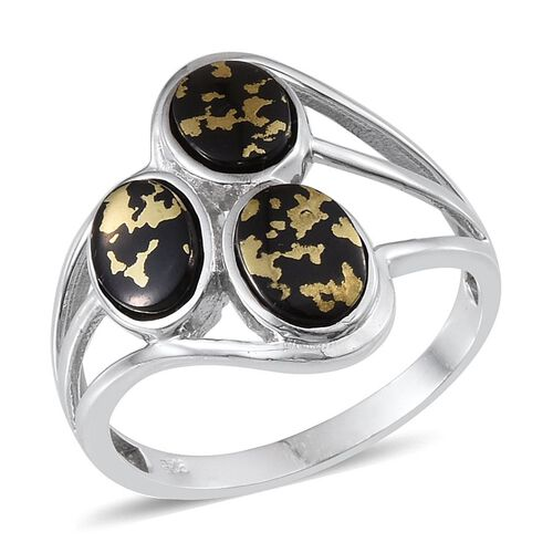 Goldenite (Ovl) Trilogy Ring in Platinum Overlay Sterling Silver 3.000 Ct.