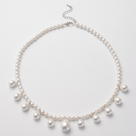 DOD - Designer Inspired White Shell Pearl  Necklace (Size 20)