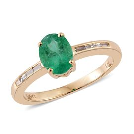 ILIANA 1.15 Ct AAA Boyaca Colombian Emerald and Diamond Ring in 18K Gold