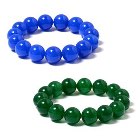 Set of 2- Blue and Green Quartzite (Rnd) Beads Bracelet 568.150 Ct.