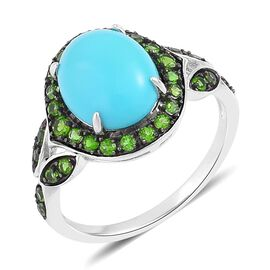 Arizona Sleeping Beauty Turquoise (Ovl 2.25 Ct), Russian Diopside Ring in Black Rhodium Plated Sterl