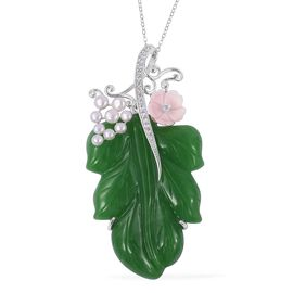 Limited Available-Jardin Collection- Hand Carved Green Jade, Pink Mother of Pearl Necklace in Rhodium Plated Sterling Silver, Jade Ct Wt 75.02 Cts