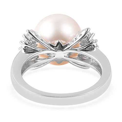 Edison Pearl (Rnd), Natural White Cambodian Zircon Ring in Rhodium Overlay Sterling Silver