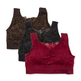 3 Piece Set - SANKOM SWITZERLAND Patent Classic with Gold Trim Lace Bra (Size S/M, 6-8) Including Black, Brown and Red
