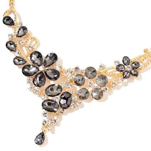Simulated Grey Spinel and White Austrian Crystal BIB Necklace (Size 22) in Gold Tone