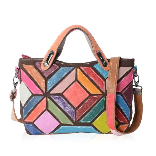 Morocco Collection 100% Genuine Leather Patchwork Tote Bag with Removable Shoulder Strap (Size 32x26x19.5x10 Cm)