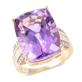 Cocktail Collection -9K Yellow Gold Bolivian Amethyst (Cush 20x15 mm), Diamond Ring 22.275 Ct, Gold