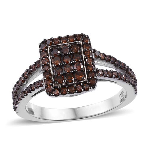 Red Diamond (Rnd) Cluster Ring in Black and Platinum Overlay Sterling Silver 0.500 Ct.