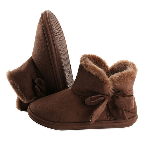 Womens Comfy Winter Bootie Slippers with Bow - Dark Brown (Size 5)