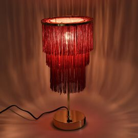 3 Layer Tassel Table Lamp with Two USB Port (H-42 Cm) - Wine Red