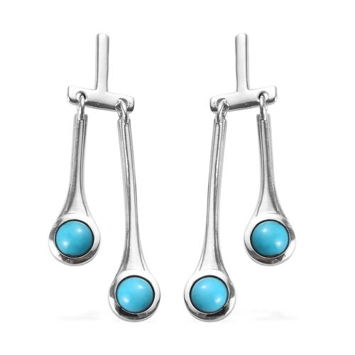 Arizona Sleeping Beauty Turquoise Earrings in Platinum Overlay Sterling Silver 2.00 Ct, Silver wt 5.