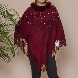 Knit Poncho with Faux Fur Collar, Simulated Pearls and Fringe Detail (Size 99x81+10cm) - Wine Colour