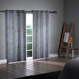 SERENITY NIGHT Set of 2 -  Leaves Pattern Blackout Curtain with 8 Eyelets and LED Band (Size 140x240cm) - Mint