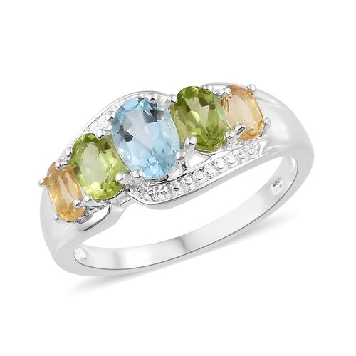 Sky Blue Topaz (Ovl 1.00 Ct), Hebei Peridot and Citrine Ring in Sterling Silver 2.500 Ct. Silver wt 3.00 Gms.