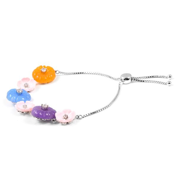 Purple, Yellow and Blue Jade, Natural Cambodian White Zircon and Pink Mother of Pearl Bracelet (Size 6.5 - 8.5 Adjustable) in Rhodium Ovelray Sterling Silver 34.150 Ct.