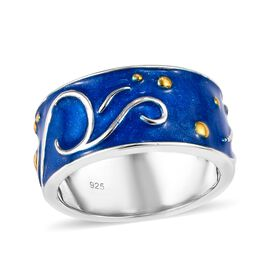 Platinum and Yellow Gold Overlay Sterling Silver Enamelled Band Ring