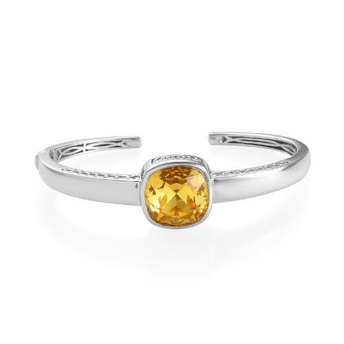 J Francis Light Colorado Topaz Crystal from Swarovski Cuff Bangle in Platinum Plated 7.5 Inch