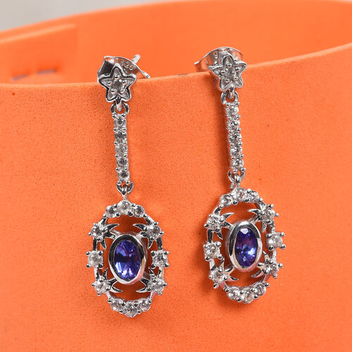 Tanzanite and Natural Cambodian Zircon Dangling Earrings (with Push Back) in Platinum Overlay Sterling Silver 1.25 Ct.