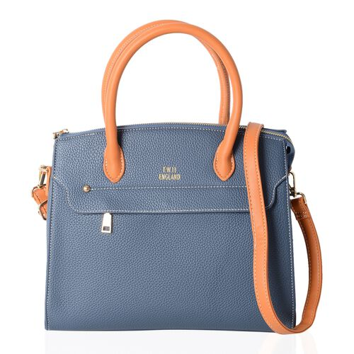 TW11 COLLECTION Blue City Tote Bag with External Zipper Pocket and Removable Shoulder Strap (Size 30