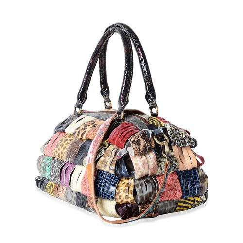 Morocco Collection Animal Embossed Block Pattern 100% Genuine Leather Tote Bag with Adjustable and Removable Shoulder Strap (Size 31x25x16 Cm)