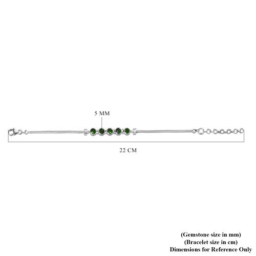 Artisan Crafted Russian Diopside Chain Bracelet (Size 7 with 1.5 inch Extender) in Sterling Silver 2.50 Ct.