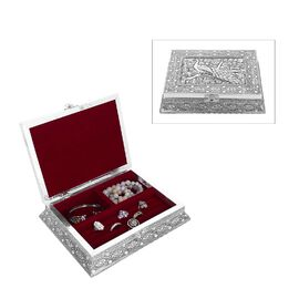 3D Embossed Collection Handcrafted Peacock Oxidised Jewellery Box (Size 23x17.7 Cm) with Red Velvet