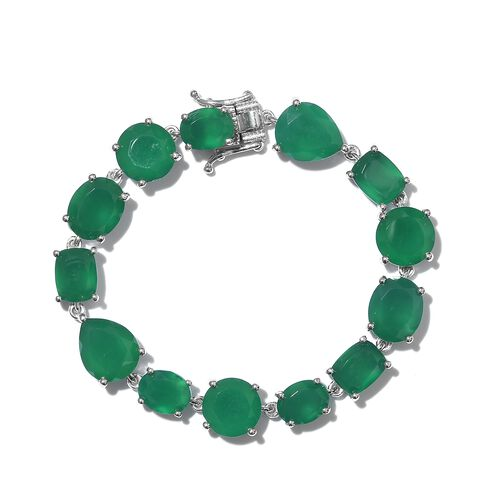 Cocktail Collection- Verde Onyx Bracelet (Size 6.5) in Platinum Overlay Sterling Silver 35.000 Ct. S