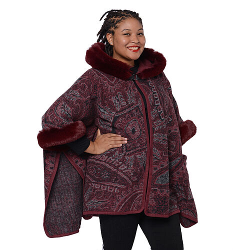 Cashew Flower Pattern Long Cape with Faux Fur Hood and Sleeves (One Size, L: 75cm) - Burgundy and Grey