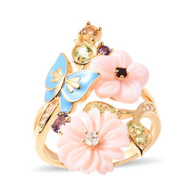 Jardin Collection - Pink Mother of Pearl, Hebei Peridot and Multi Gemstone Enamelled Butterfly Flora