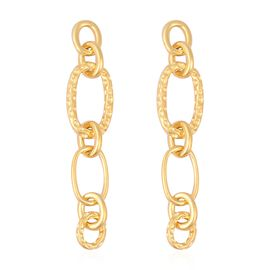 RACHEL GALLEY Ocean Link Long Drop Earrings in Gold Plated Sterling Silver 11.24 Grams