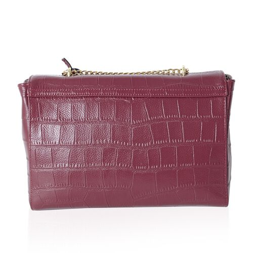 Croc Embossed 100% Genuine Leather Ture Red Croc Embossed Cross Body Bag (Size 27x19x9 Cm)
