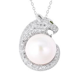 White Pearl and Multi Gemstone Panther Pendant With Chain in Rhodium Plated Silver