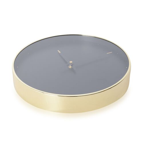 Decorative Round Shape Wall Clock (Size 28x28x4.5 Cm) Golden Colour Dot