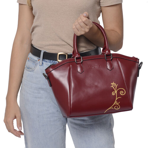 100% Genuine Leather Vine Pattern Tote Bag with Zipper Closure, Detachable and Adjustable Shoulder Strap (Size 22x13x23) - Red