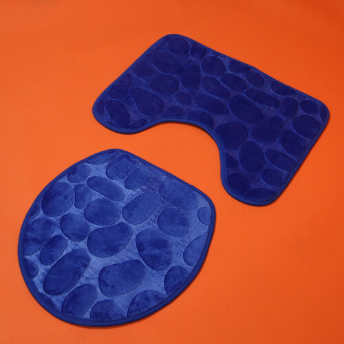 3 Piece Round Stone Embossed Pattern Bathmat Set - Toilet Mat, Bath Mat and Toilet Seat Cover in Blue