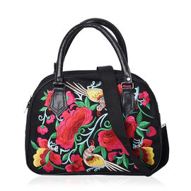Shanghai Collection - Embroidered Flower and Bird Pattern Tote Bag with Zipper Closure and Detachabl