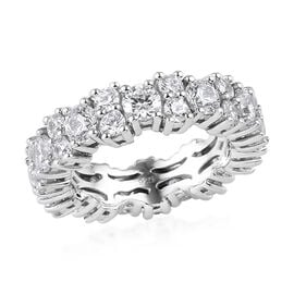 J Francis - Platinum Overlay Sterling Silver Ring Made with SWAROVSKI ZIRCONIA 6.80 Ct, Silver wt. 5