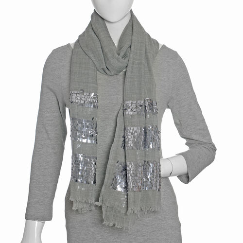 92% Wool and  8% Silk Check Pattern Grey Colour Scarf  (Size 180x70 Cm)