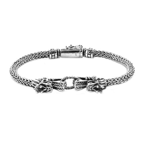 Royal Bali Collection Sterling Silver Dragon Head with Tulang Naga Bracelet (Size 8), Silver wt 49.57 Gms.
