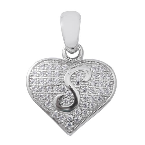 ELANZA Simulated Diamond (Rnd) Heart with Initial S Pendant in Rhodium Overlay Sterling Silver