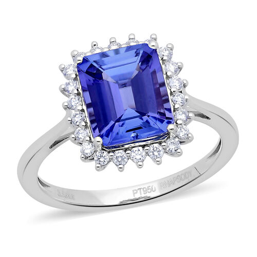 RHAPSODY 3.77 Ct AAAA Tanzanite and Diamond Halo Ring in 950 Platinum 5.30 Grams VS EF