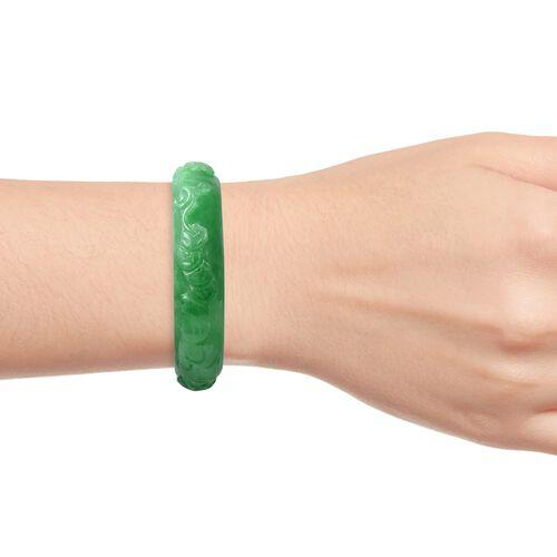 Carved Green Jade Dragon Bangle (Size 7) 235.00 Ct.