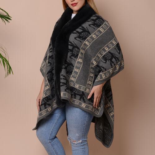 Elephant Print Kimono with Faux Fur Collar (Size 78x109cm) - Grey