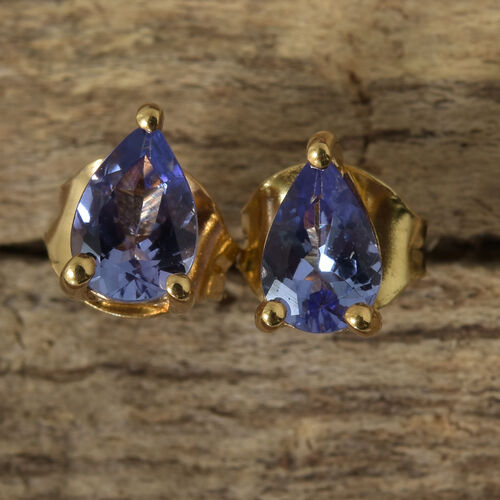 Tanzanite (Pear) Stud Earrings (with Push Back) in 14K Gold Overlay Sterling Silver 0.750 Ct.