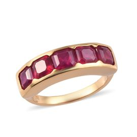 3.75 Ct African Ruby Half Eternity Band Ring in Gold Plated Sterling Silver