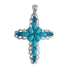 AA Arizona Sleeping Beauty Turquoise (Ovl), Malgache Neon Apatite Cross Pendant in Rhodium Overlay Sterling Silver 7.800 Ct.