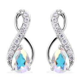 Mercury Mystic Coated Topaz (1.50 Ct),Cambodian Zircon Platinum Overlay Sterling Silver Earring  2.0